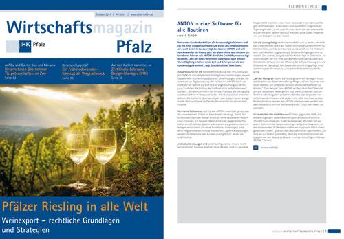 Beitrag Wirtschaftmagazin IHK Pfalz über ANTON