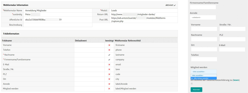 Webformular erstellen