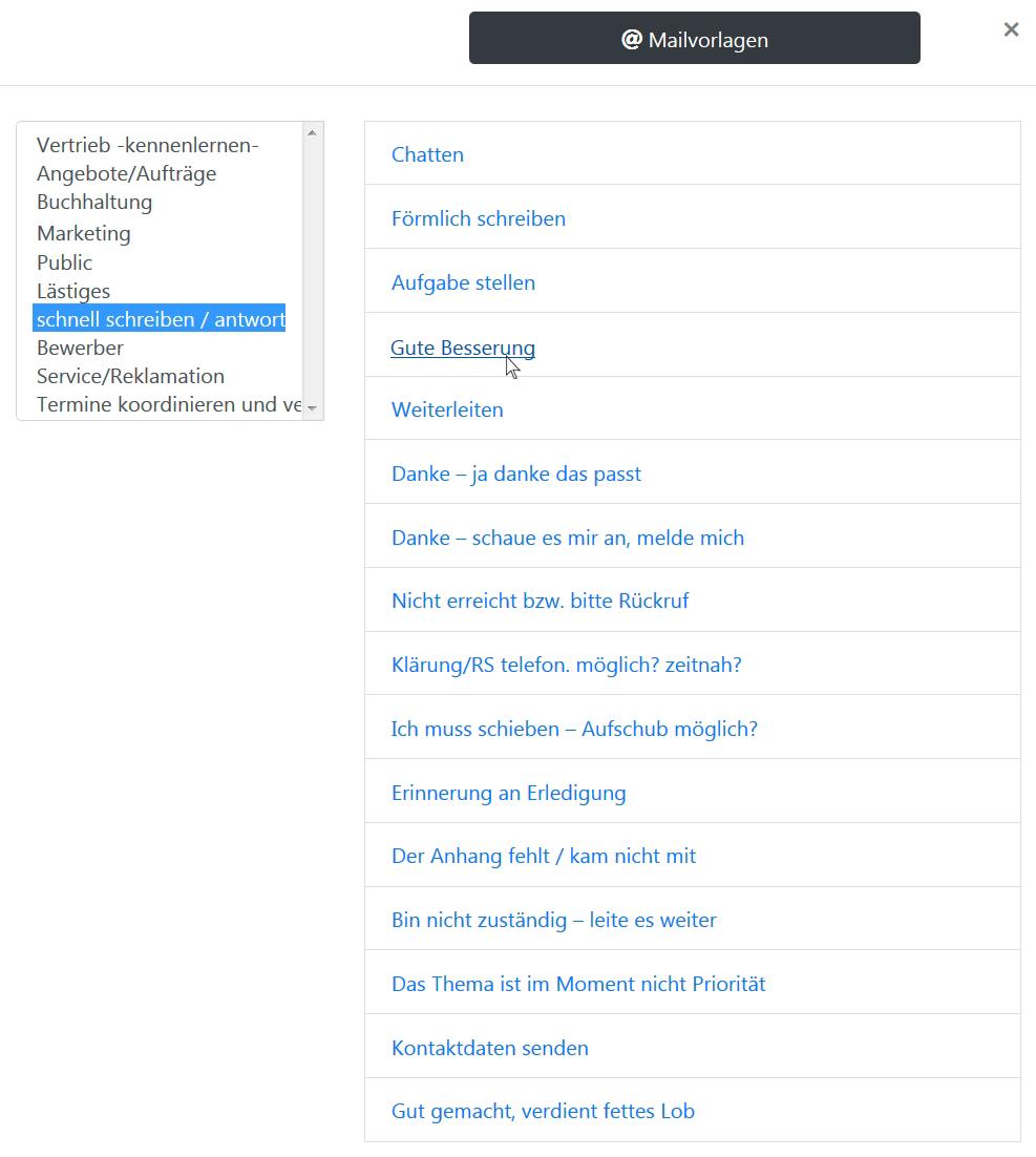 Übersicht E-Mailvorlagen auswählen