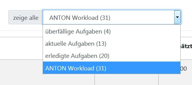 Auswahlliste ANTONs Workload