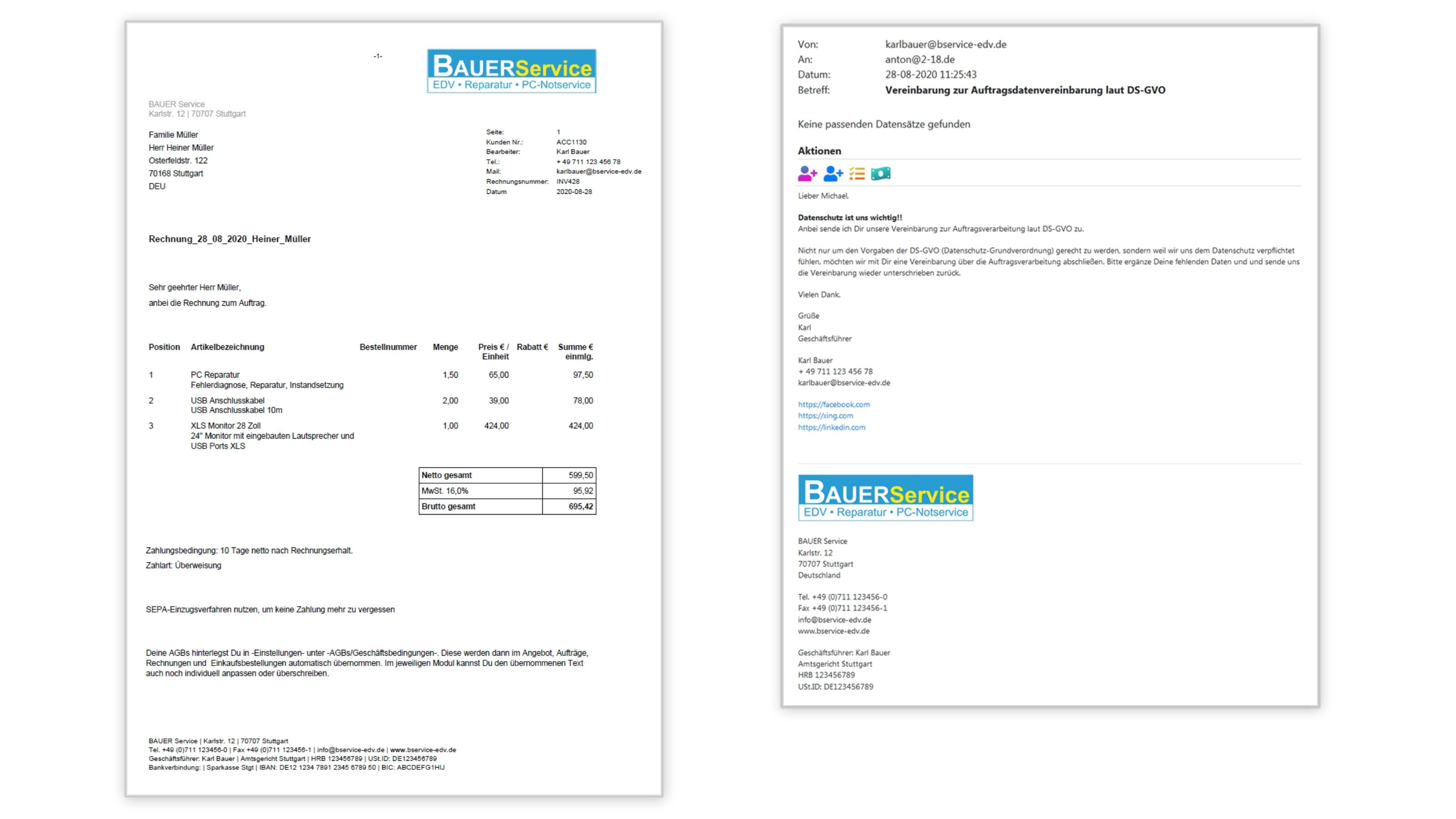 Unternehmensgründung Projekte Briefkopf und E-Mail Footer