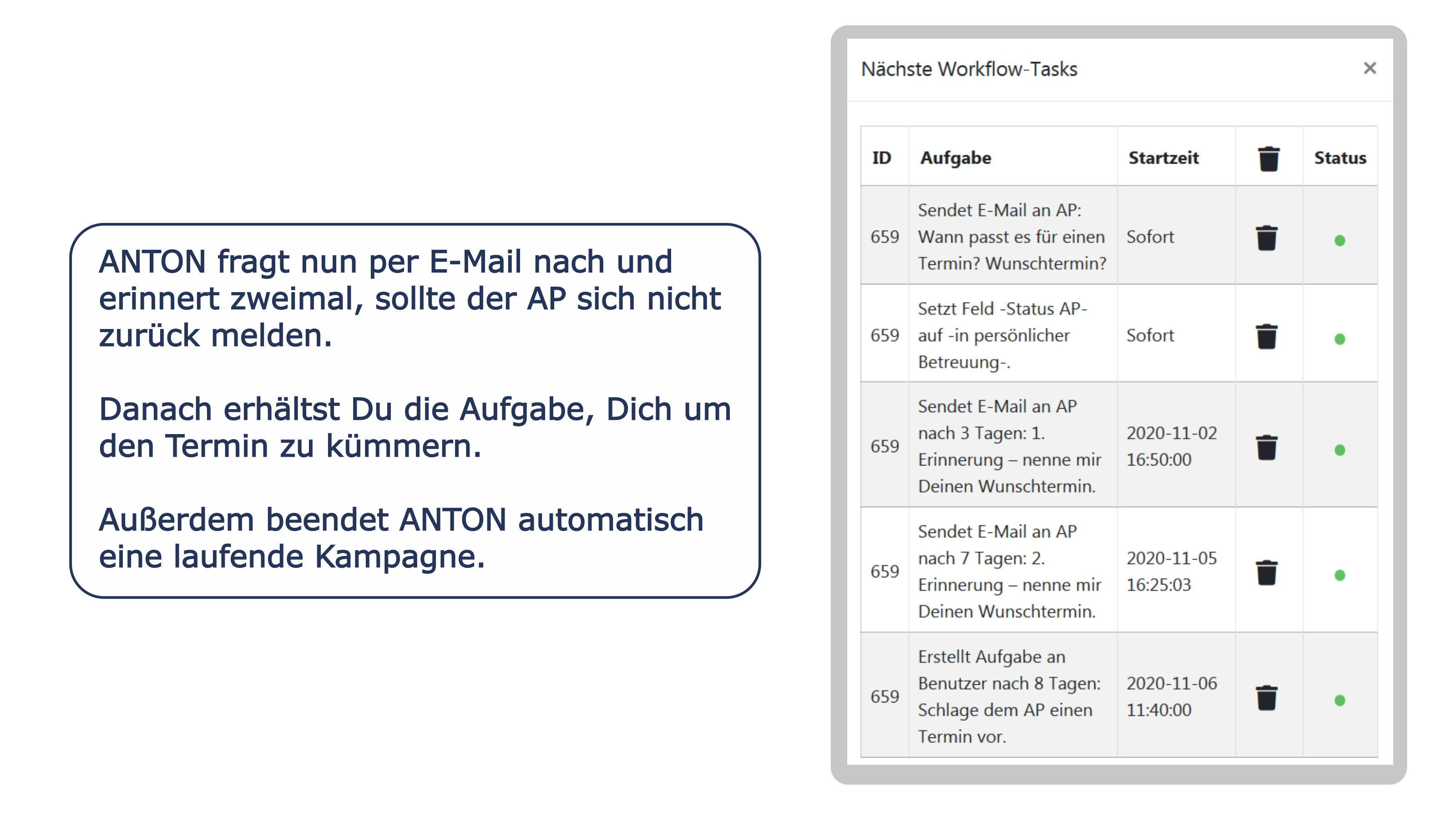 Wunschtermin per E-Mail senden