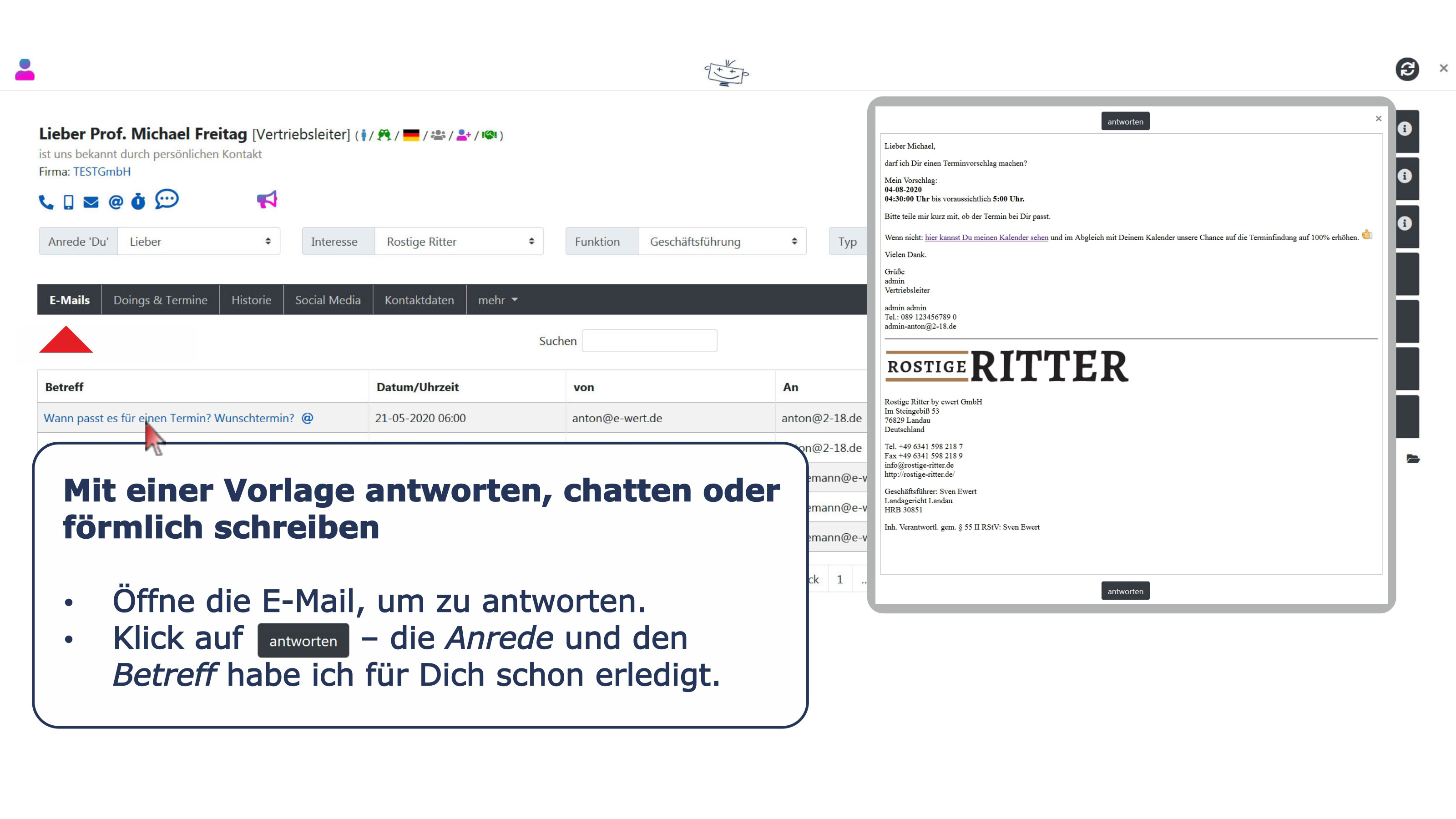 Ansprechpartner Detail E-Mail Vorlagen