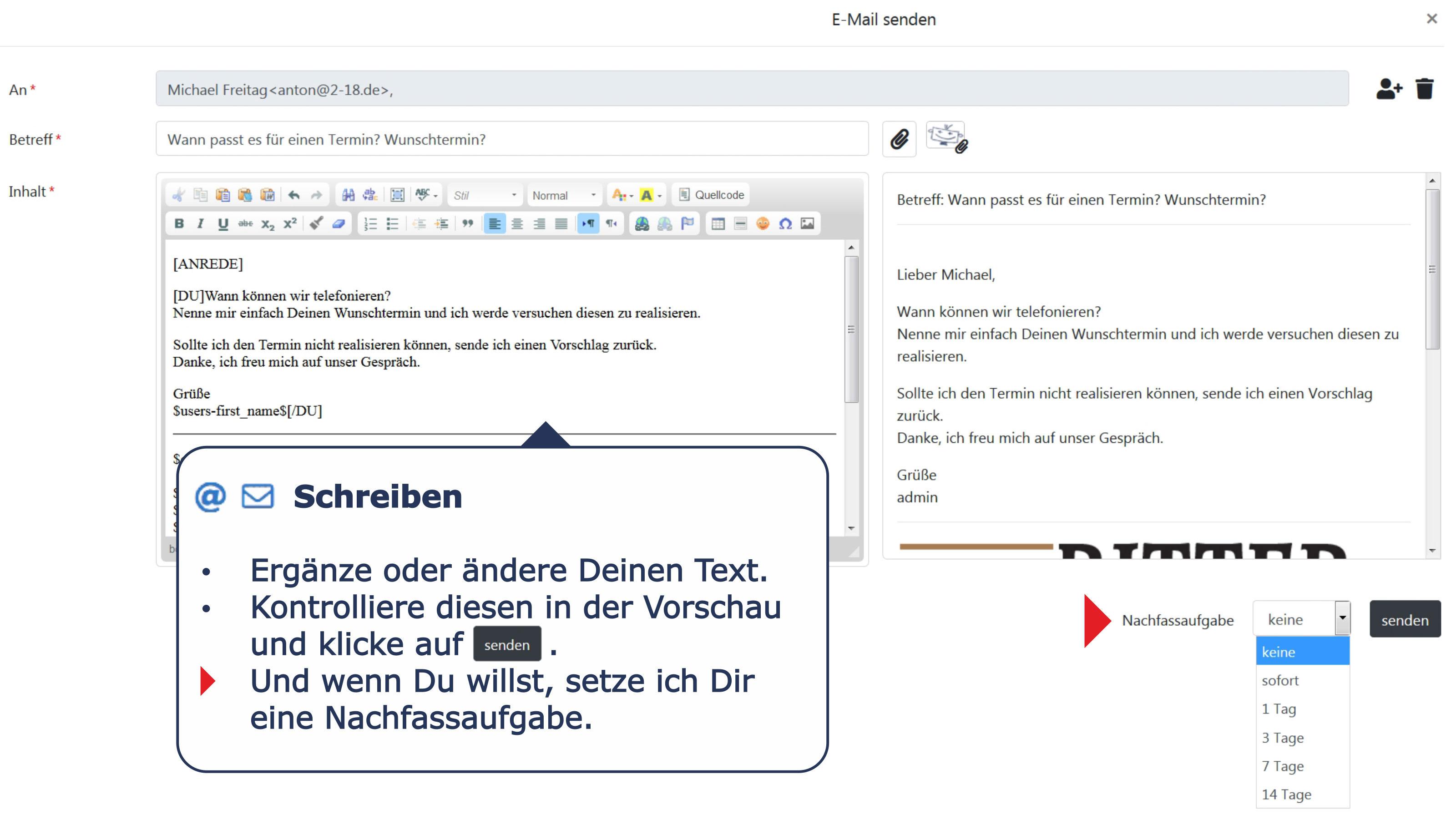Ansprechpartner Detail E-Mails schreiben