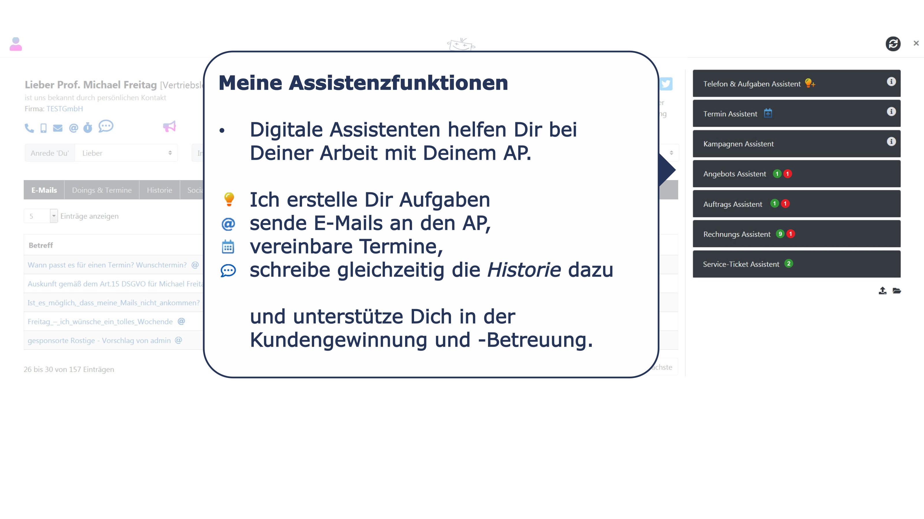 Ansprechpartner Detail Assistenzfunktionen