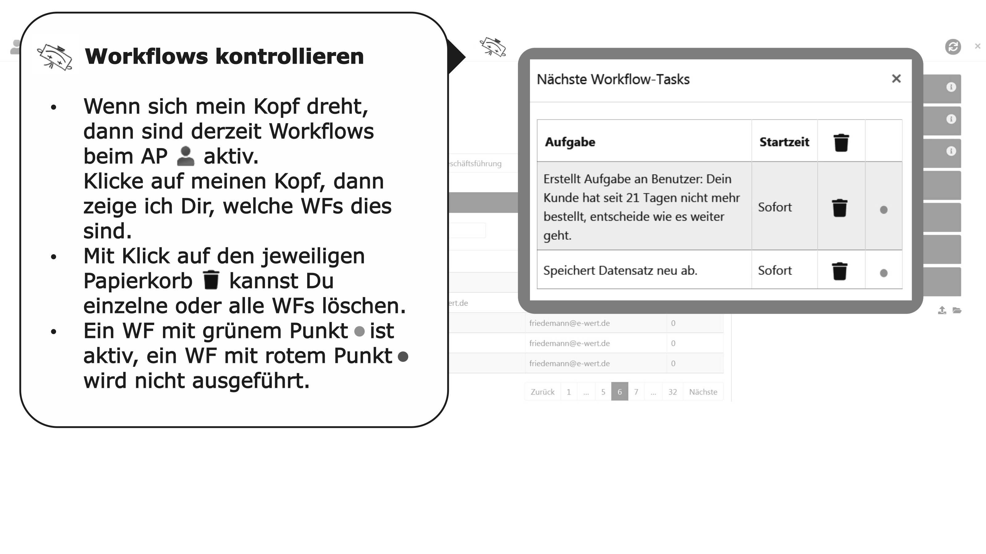 Ansprechpartner Detail Workflows anzeigen