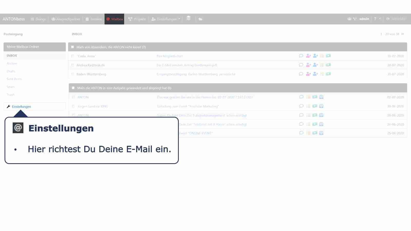 Mailbox Einstellungen