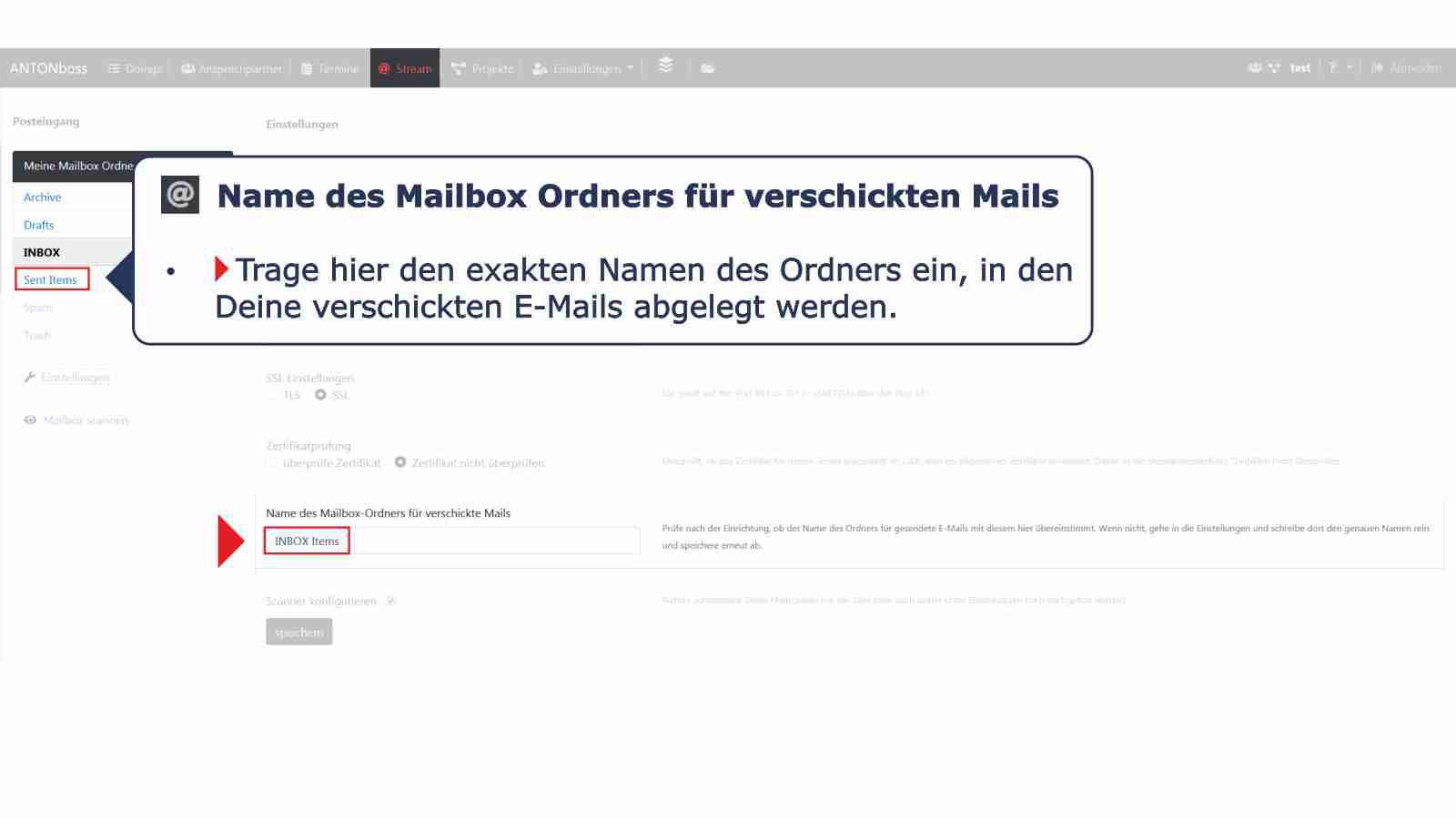Mailbox Ordnerbezeichnung