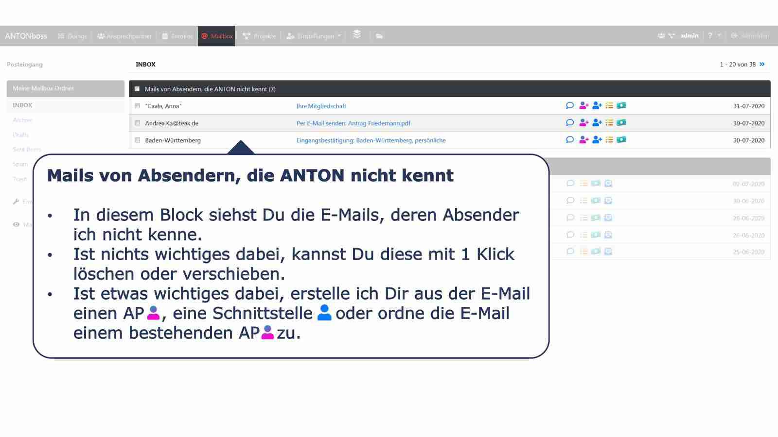Mailbox unbekannte E-Mails