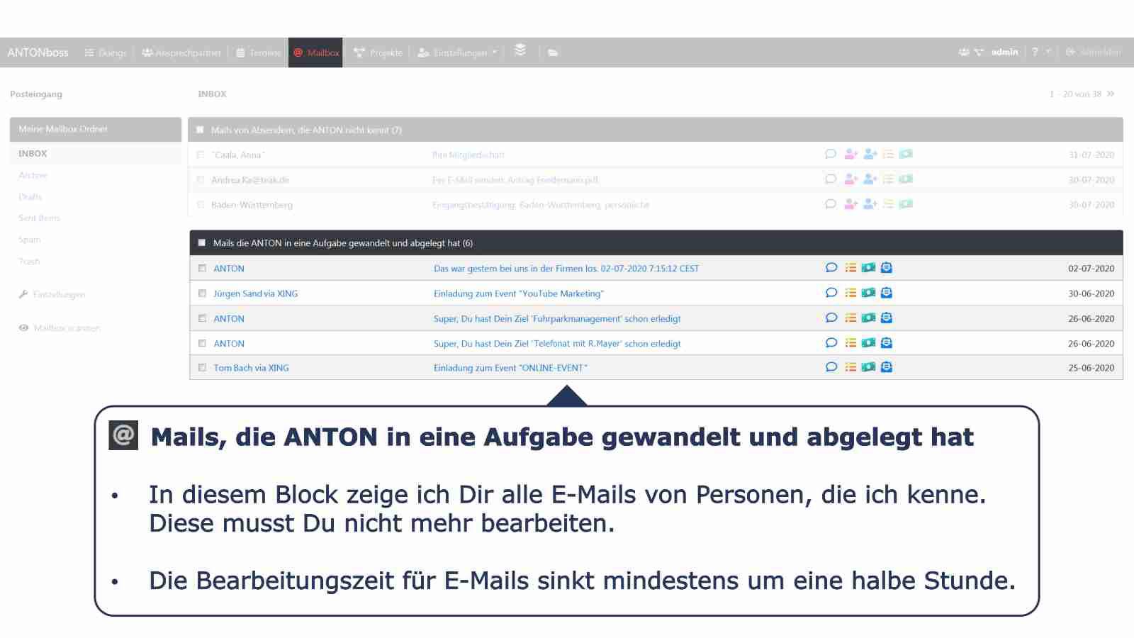 Mailbox bekannte E-Mails