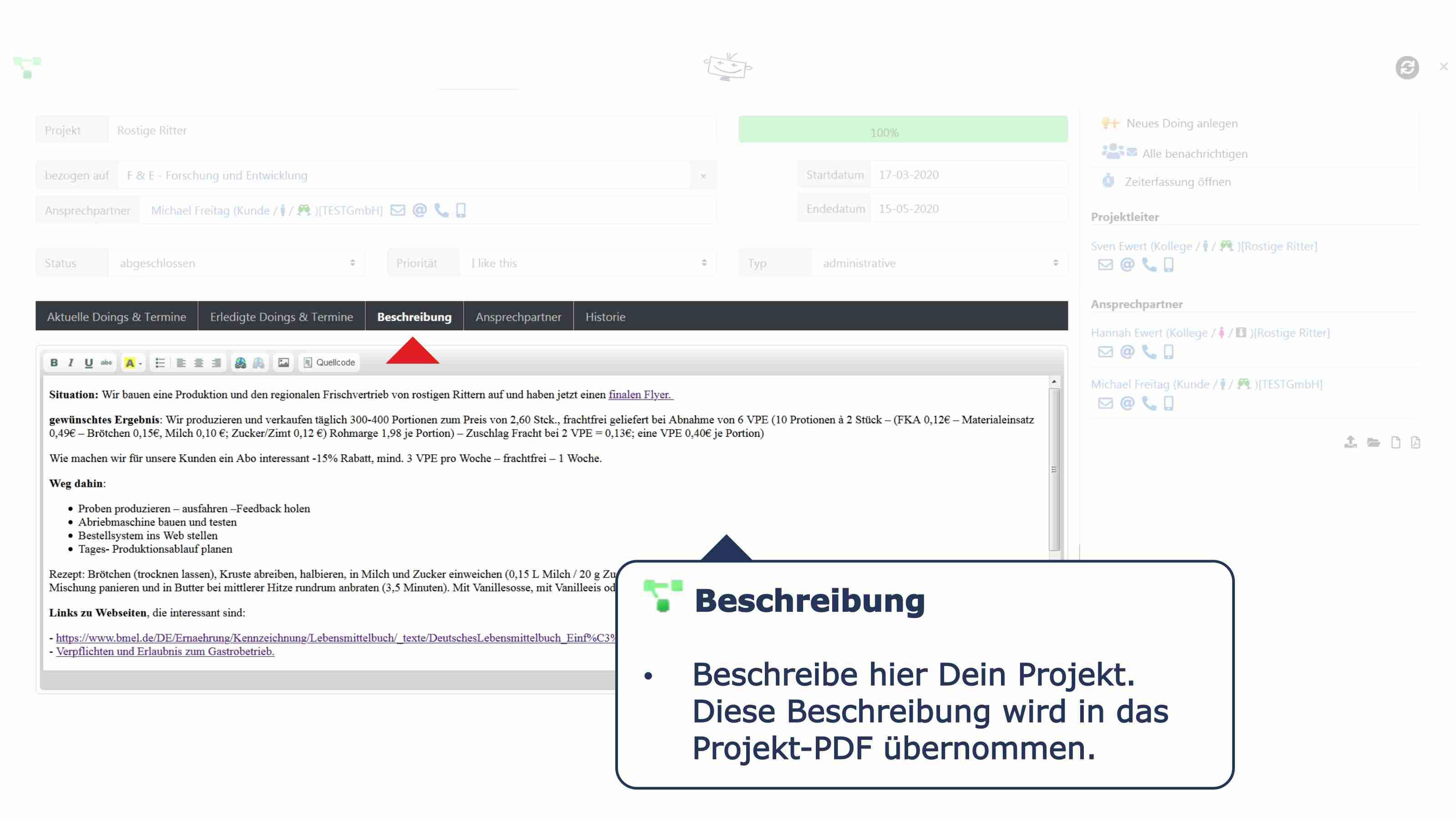 Projekte Details Beschreibung