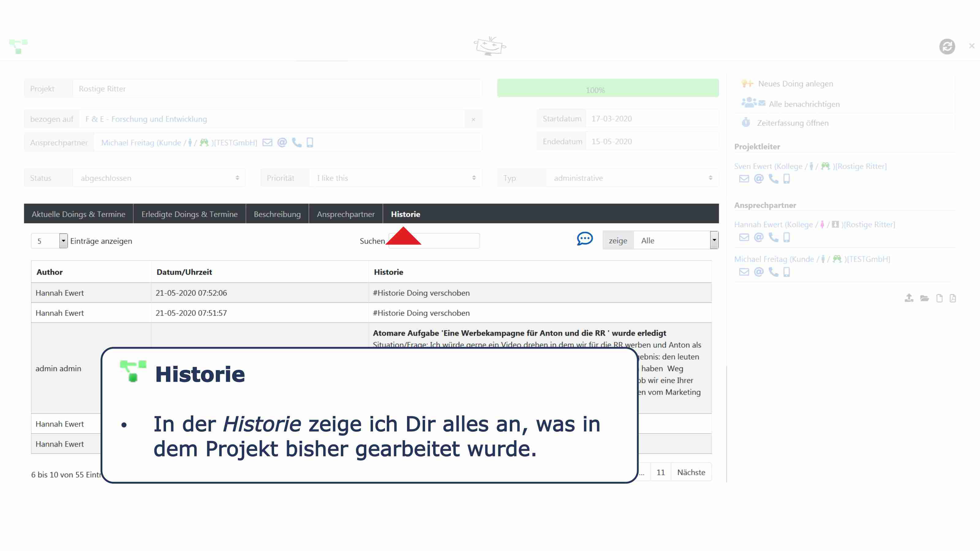 Projekte Details Historie