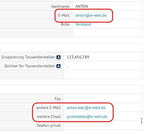 Benutzereinstellungen E-Mailadressen