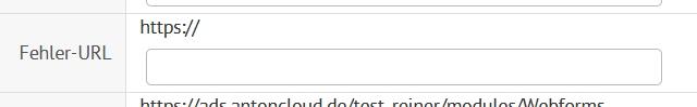 Feld für Fehler URL