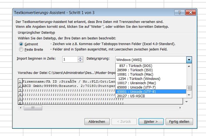 CSV als UTF-8