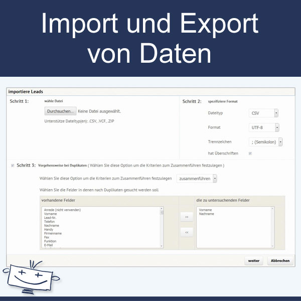 Import und Export von Daten
